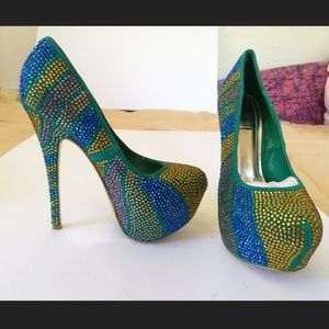 Platform pumps High heel green sparkling shoes new
